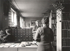 """Exhibition """"Five Homes. Stories About Adapting"""". NLL reading room at Jēkaba iela 6/8 (1969). Picture from NLL collection"""