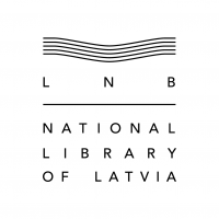 The logo of the National Library of Latvia in English