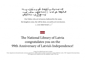Congratulations on the 99th Anniversary of Latvia's Independence!