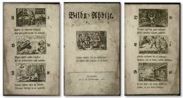 """Fragments from """"Bilžu ābece"""" (Picture Alphabet) by G.F. Stender (1787). Publicity picture"""
